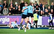 25 February 2019; Simon O'Kelly, left, and Rohan Van Den Akker of St Michael's College celebrate at the final whistle following the Bank of Ireland Leinster Schools Senior Cup Round 2 match between Blackrock College and St Michael's College at Energia Park in Donnybrook, Dublin. Photo by David Fitzgerald/Sportsfile