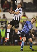 25 February 2019; Chris Shields of Dundalk in action against Timmy Molloy of UCD during the SSE Airtricity League Premier Division match between Dundalk and UCD at Oriel Park in Dundalk, Co Louth. Photo by Eóin Noonan/Sportsfile