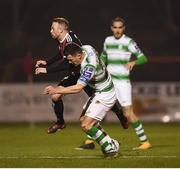 25 February 2019; Aaron Greene of Shamrock Rovers puts in a tackle on Keith Ward of Bohemians resulting in a red card during the SSE Airtricity League Premier Division match between Bohemians and Shamrock Rovers at Dalymount Park in Dublin. Photo by Stephen McCarthy/Sportsfile