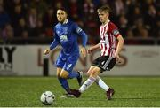 25 February 2019; Ciaron Harkin of Derry City in action against Shane Duggan of Waterford during the SSE Airtricity League Premier Division match between Derry City and Waterford at the Ryan McBride Brandwell Stadium in Derry. Photo by Oliver McVeigh/Sportsfile