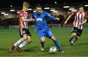 25 February 2019; Shane Duggan of Waterford in action against Ciaran Harkin and Barry McNamee of Derry City during the SSE Airtricity League Premier Division match between Derry City and Waterford at the Ryan McBride Brandwell Stadium in Derry. Photo by Oliver McVeigh/Sportsfile