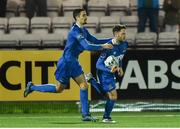 25 February 2019; Shane Duggan, right, of Waterford runs back with the ball, after scoring a penalty, as team-mate Damien Delaney celebrates with him during the SSE Airtricity League Premier Division match between Derry City and Waterford at the Ryan McBride Brandwell Stadium in Derry. Photo by Oliver McVeigh/Sportsfile