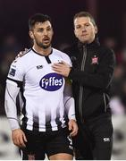 25 February 2019; Dundalk head coach Vinny Perth with Pat Hoban of Dundalk following the SSE Airtricity League Premier Division match between Dundalk and UCD at Oriel Park in Dundalk, Co Louth. Photo by Eóin Noonan/Sportsfile