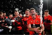 20 February 2019; Kevin Flahive of UCC celebrates with champagne after the Electric Ireland HE GAA Sigerson Cup Final match between St Mary's University College Belfast and University College Cork at O'Moore Park in Portlaoise, Laois. Photo by Piaras Ó Mídheach/Sportsfile