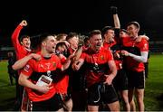 20 February 2019; Kevin Flahive of UCC, centre, and his team-mates celebrate after the Electric Ireland HE GAA Sigerson Cup Final match between St Mary's University College Belfast and University College Cork at O'Moore Park in Portlaoise, Laois. Photo by Piaras Ó Mídheach/Sportsfile