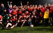 20 February 2019; UCC players celebrate with the cup after the Electric Ireland HE GAA Sigerson Cup Final match between St Mary's University College Belfast and University College Cork at O'Moore Park in Portlaoise, Laois. Photo by Piaras Ó Mídheach/Sportsfile