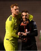 25 February 2019; James Talbot, left, and Keith Ward of Bohemians following the SSE Airtricity League Premier Division match between Bohemians and Shamrock Rovers at Dalymount Park in Dublin. Photo by Stephen McCarthy/Sportsfile