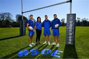 26 February 2019; Leinster Rugby players, from left, Adam Byrne, Eimear Corri, Caelan Doris and Max Deegan at the launch of the 2019 Bank of Ireland Leinster Rugby School of Excellence, avail of the early bird offer now and book your place at leinsterrugby.ie/camps. Photo by Ramsey Cardy/Sportsfile