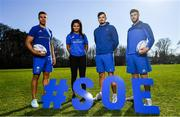 26 February 2019; Leinster Rugby players Adam Byrne, Eimear Corri, Max Deegan and Caelan Doris at the launch of the 2019 Bank of Ireland Leinster Rugby School of Excellence, avail of the early bird offer now and book your place at leinsterrugby.ie/camps. Photo by Ramsey Cardy/Sportsfile
