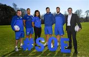 26 February 2019; At the launch of the 2019 Bank of Ireland Leinster Rugby School of Excellence are, from left, Stephen Maher, Community Rugby Officer, Leinster Rugby, Adam Byrne, Eimear Corri, Max Deegan, Caelan Doris and Rory Carty, Head of Youth Banking, Bank of Ireland. Avail of the early bird offer now and book your place at leinsterrugby.ie/camps. Photo by Ramsey Cardy/Sportsfile