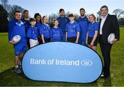 26 February 2019; Leinster Rugby players Adam Byrne, Eimear Corri, Max Deegan and Caelan Doris at the launch of the 2019 Bank of Ireland Leinster Rugby School of Excellence are camp participants, from left, Daniel Forkin, Rachel Sutton, Juliette Moore, Oisin Spain and Eve McPhillimy with Stephen Maher, Community Rugby Officer, Leinster Rugby, left, and Rory Carty, Head of Youth Banking, Bank of Ireland. Avail of the early bird offer now and book your place at leinsterrugby.ie/camps. Photo by Ramsey Cardy/Sportsfile
