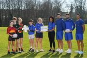 26 February 2019; Leinster Rugby players Eimear Corri, Max Deegan, Caelan Doris and Adam Byrne with School of Excellence participants, from left, Juliette Moore, Oisin Spain, Rachel Sutton, Daniel Forkin and Eve McPhillimy at the launch of the 2019 Bank of Ireland Leinster Rugby School of Excellence, avail of the early bird offer now and book your place at leinsterrugby.ie/camps. Photo by Ramsey Cardy/Sportsfile