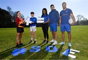 26 February 2019; Leinster Rugby players Eimear Corri, Max Deegan and Adam Byrne with School of Excellence participants Juliette Moore and Daniel Forkin at the launch of the 2019 Bank of Ireland Leinster Rugby School of Excellence, avail of the early bird offer now and book your place at leinsterrugby.ie/camps. Photo by Ramsey Cardy/Sportsfile