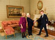 26 February 2019; The President of Ireland Michael D Higgins and his wife Sabina greet Cian Lynch during a reception for the 2018 All-Ireland Hurling Champions Limerick at Áras an Uachtaráin in Dublin. Photo by Ramsey Cardy/Sportsfile