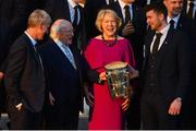 26 February 2019; The President of Ireland Michael D Higgins and his wife Sabina greet manager John Kiely, left, and captain Declan Hannon during a reception for the 2018 All-Ireland Hurling Champions Limerick at Áras an Uachtaráin in Dublin. Photo by Ramsey Cardy/Sportsfile