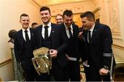 26 February 2019; Limerick captain Declan Hannon, second left, with teammates, from left, David Dempsey, Barry O'Connell, Peter Casey and Mike Casey during a reception for the 2018 All-Ireland Hurling Champions Limerick at Áras an Uachtaráin in Dublin. Photo by Ramsey Cardy/Sportsfile