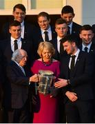 26 February 2019; The President of Ireland Michael D Higgins and his wife Sabina greet captain Declan Hannon during a reception for the 2018 All-Ireland Hurling Champions Limerick at Áras an Uachtaráin in Dublin. Photo by Ramsey Cardy/Sportsfile