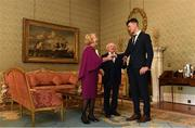 26 February 2019; The President of Ireland Michael D Higgins and his wife Sabina greet Kyle Hayes during a reception for the 2018 All-Ireland Hurling Champions Limerick at Áras an Uachtaráin in Dublin. Photo by Ramsey Cardy/Sportsfile