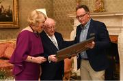 26 February 2019; The President of Ireland Michael D Higgins and his wife Sabina greet Pat Daly, GAA Director of Games Development and Research, who presented the UNESCO certificate for their recognition of hurling, during a reception for the 2018 All-Ireland Hurling Champions Limerick at Áras an Uachtaráin in Dublin. Photo by Ramsey Cardy/Sportsfile