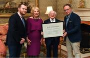26 February 2019; The President of Ireland Michael D Higgins and his wife Sabina greet Stephen Kenneally, Department of Culture, left, and Pat Daly, GAA Director of Games Development and Research, who presented the UNESCO certificate for their recognition of hurling, during a reception for the 2018 All-Ireland Hurling Champions Limerick at Áras an Uachtaráin in Dublin. Photo by Ramsey Cardy/Sportsfile