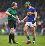 24 February 2019; Referee Johnny Murphy in conversation with James Barry of Tipperary during the Allianz Hurling League Division 1A Round 4 match between Tipperary and Kilkenny at Semple Stadium in Thurles, Co Tipperary. Photo by Ray McManus/Sportsfile