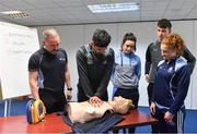 27 February 2019; Dublin players, from left, Cian O'Sullivan, Niamh McEvoy, Chris Crummey, and Róisín Baker with David Greville, MD of Heartsafety Solutions, at Parnell Park to launch AIG Dub Club Health. The Heart Safety Roadshow is the first programme in the initiative that will provide training around CPR, choking, defibrillator/AED usage, storage and maintenance. Go to www.aig.ie/health to find out more.  Photo by Brendan Moran/Sportsfile