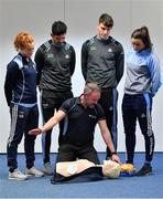 27 February 2019; Dublin players, from left, Róisín Baker, Cian O'Sullivan, Chris Crummey, and Niamh McEvoy with David Greville, MD of Heartsafety Solutions, at Parnell Park to launch AIG Dub Club Health. The Heart Safety Roadshow is the first programme in the initiative that will provide training around CPR, choking, defibrillator/AED usage, storage and maintenance. Go to www.aig.ie/health to find out more.  Photo by Brendan Moran/Sportsfile