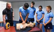 27 February 2019; Dublin players, from left, Cian O'Sullivan, Chris Crummey, Niamh McEvoy and Róisín Baker with David Greville, MD of Heartsafety Solutions, at Parnell Park to launch AIG Dub Club Health. The Heart Safety Roadshow is the first programme in the initiative that will provide training around CPR, choking, defibrillator/AED usage, storage and maintenance. Go to www.aig.ie/health to find out more.  Photo by Brendan Moran/Sportsfile