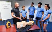 27 February 2019; Dublin players, from left, Róisín Baker, Chris Crummey, Cian O'Sullivan, and Niamh McEvoy with David Greville, MD of Heartsafety Solutions, at Parnell Park to launch AIG Dub Club Health. The Heart Safety Roadshow is the first programme in the initiative that will provide training around CPR, choking, defibrillator/AED usage, storage and maintenance. Go to www.aig.ie/health to find out more.  Photo by Brendan Moran/Sportsfile