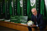 "27 February 2019; Republic of Ireland manager Mick McCarthy in attendance at Aviva Stadium where the Football Association of Ireland (FAI) launched its new 3, 5 & 10-year Premium Level tickets - ""Club Ireland"" - ahead of the Republic of Ireland's EURO 2020 qualifying campaign kicking off next month with Georgia coming to Aviva Stadium on Tuesday, March 26th. Priced at €5,000 for a 10-year ticket and with 5 home international games guaranteed each year, the FAI believe they represent the most keenly priced Premium Level season ticket in Irish sport. The new Ireland management team, Mick McCarthy, Terry Connor & Robbie Keane, were at Aviva Stadium along with FAI CEO John Delaney and former Ireland Internationals and Club Ireland Ambassadors Richard Dunne and Karen Duggan to officially launch the new and improved Club Ireland membership. Membership of Club Ireland is on sale from today (Wednesday, February 27th) and can be purchased VIA: fai.ie/clubireland; by emailing Club Ireland clubireland@fai.ieor by calling 01 899 9547. Photo by Stephen McCarthy/Sportsfile"