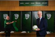 "27 February 2019; Republic of Ireland manager Mick McCarthy and team equipment officer Dick Redmond in attendance at Aviva Stadium where the Football Association of Ireland (FAI) launched its new 3, 5 & 10-year Premium Level tickets - ""Club Ireland"" - ahead of the Republic of Ireland's EURO 2020 qualifying campaign kicking off next month with Georgia coming to Aviva Stadium on Tuesday, March 26th. Priced at €5,000 for a 10-year ticket and with 5 home international games guaranteed each year, the FAI believe they represent the most keenly priced Premium Level season ticket in Irish sport. The new Ireland management team, Mick McCarthy, Terry Connor & Robbie Keane, were at Aviva Stadium along with FAI CEO John Delaney and former Ireland Internationals and Club Ireland Ambassadors Richard Dunne and Karen Duggan to officially launch the new and improved Club Ireland membership. Membership of Club Ireland is on sale from today (Wednesday, February 27th) and can be purchased VIA: fai.ie/clubireland; by emailing Club Ireland clubireland@fai.ieor by calling 01 899 9547. Photo by Stephen McCarthy/Sportsfile"
