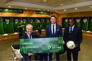 "27 February 2019; Republic of Ireland manager Mick McCarthy, left, with assistant coaches Robbie Keane and Terry Connor, right, and team equipment officers Dick Redmond and Mick Lawlor in attendance at Aviva Stadium where the Football Association of Ireland (FAI) launched its new 3, 5 & 10-year Premium Level tickets - ""Club Ireland"" - ahead of the Republic of Ireland's EURO 2020 qualifying campaign kicking off next month with Georgia coming to Aviva Stadium on Tuesday, March 26th. Priced at €5,000 for a 10-year ticket and with 5 home international games guaranteed each year, the FAI believe they represent the most keenly priced Premium Level season ticket in Irish sport. The new Ireland management team, Mick McCarthy, Terry Connor & Robbie Keane, were at Aviva Stadium along with FAI CEO John Delaney and former Ireland Internationals and Club Ireland Ambassadors Richard Dunne and Karen Duggan to officially launch the new and improved Club Ireland membership. Membership of Club Ireland is on sale from today (Wednesday, February 27th) and can be purchased VIA: fai.ie/clubireland; by emailing Club Ireland clubireland@fai.ieor by calling 01 899 9547. Photo by Stephen McCarthy/Sportsfile"