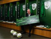 "27 February 2019; FAI Chief Executive John Delaney in attendance at Aviva Stadium where the Football Association of Ireland (FAI) launched its new 3, 5 & 10-year Premium Level tickets - ""Club Ireland"" - ahead of the Republic of Ireland's EURO 2020 qualifying campaign kicking off next month with Georgia coming to Aviva Stadium on Tuesday, March 26th. Priced at €5,000 for a 10-year ticket and with 5 home international games guaranteed each year, the FAI believe they represent the most keenly priced Premium Level season ticket in Irish sport. The new Ireland management team, Mick McCarthy, Terry Connor & Robbie Keane, were at Aviva Stadium along with FAI CEO John Delaney and former Ireland Internationals and Club Ireland Ambassadors Richard Dunne and Karen Duggan to officially launch the new and improved Club Ireland membership. Membership of Club Ireland is on sale from today (Wednesday, February 27th) and can be purchased VIA: fai.ie/clubireland; by emailing Club Ireland clubireland@fai.ieor by calling 01 899 9547. Photo by Stephen McCarthy/Sportsfile"