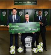 "27 February 2019; Republic of Ireland manager Mick McCarthy with assistant coaches Robbie Keane, left, and Terry Connor, right, in attendance at Aviva Stadium where the Football Association of Ireland (FAI) launched its new 3, 5 & 10-year Premium Level tickets - ""Club Ireland"" - ahead of the Republic of Ireland's EURO 2020 qualifying campaign kicking off next month with Georgia coming to Aviva Stadium on Tuesday, March 26th. Priced at €5,000 for a 10-year ticket and with 5 home international games guaranteed each year, the FAI believe they represent the most keenly priced Premium Level season ticket in Irish sport. The new Ireland management team, Mick McCarthy, Terry Connor & Robbie Keane, were at Aviva Stadium along with FAI CEO John Delaney and former Ireland Internationals and Club Ireland Ambassadors Richard Dunne and Karen Duggan to officially launch the new and improved Club Ireland membership. Membership of Club Ireland is on sale from today (Wednesday, February 27th) and can be purchased VIA: fai.ie/clubireland; by emailing Club Ireland clubireland@fai.ieor by calling 01 899 9547. Photo by Stephen McCarthy/Sportsfile"