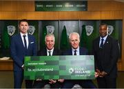 "27 February 2019; FAI Chief Executive John Delaney and Republic of Ireland manager Mick McCarthy, second from right, with assistant coaches Robbie Keane, left, and Terry Connor, right, in attendance at Aviva Stadium where the Football Association of Ireland (FAI) launched its new 3, 5 & 10-year Premium Level tickets - ""Club Ireland"" - ahead of the Republic of Ireland's EURO 2020 qualifying campaign kicking off next month with Georgia coming to Aviva Stadium on Tuesday, March 26th. Priced at €5,000 for a 10-year ticket and with 5 home international games guaranteed each year, the FAI believe they represent the most keenly priced Premium Level season ticket in Irish sport. The new Ireland management team, Mick McCarthy, Terry Connor & Robbie Keane, were at Aviva Stadium along with FAI CEO John Delaney and former Ireland Internationals and Club Ireland Ambassadors Richard Dunne and Karen Duggan to officially launch the new and improved Club Ireland membership. Membership of Club Ireland is on sale from today (Wednesday, February 27th) and can be purchased VIA: fai.ie/clubireland; by emailing Club Ireland clubireland@fai.ieor by calling 01 899 9547. Photo by Stephen McCarthy/Sportsfile"