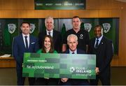 "27 February 2019; FAI Chief Executive John Delaney, second from left, with Republic of Ireland manager Mick McCarthy, assistant coaches Robbie Keane, left, and Terry Connor, right, and Club Ireland ambassador Karen Duggan and Club Ireland ambassador Richard Dunne in attendance at Aviva Stadium where the Football Association of Ireland (FAI) launched its new 3, 5 & 10-year Premium Level tickets - ""Club Ireland"" - ahead of the Republic of Ireland's EURO 2020 qualifying campaign kicking off next month with Georgia coming to Aviva Stadium on Tuesday, March 26th. Priced at €5,000 for a 10-year ticket and with 5 home international games guaranteed each year, the FAI believe they represent the most keenly priced Premium Level season ticket in Irish sport. The new Ireland management team, Mick McCarthy, Terry Connor & Robbie Keane, were at Aviva Stadium along with FAI CEO John Delaney and former Ireland Internationals and Club Ireland Ambassadors Richard Dunne and Karen Duggan to officially launch the new and improved Club Ireland membership. Membership of Club Ireland is on sale from today (Wednesday, February 27th) and can be purchased VIA: fai.ie/clubireland; by emailing Club Ireland clubireland@fai.ieor by calling 01 899 9547. Photo by Stephen McCarthy/Sportsfile"