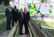 "27 February 2019; FAI Chief Executive John Delaney with Republic of Ireland manager Mick McCarthy, second from right, and assistant coaches Robbie Keane, left, and Terry Connor in attendance at Aviva Stadium where the Football Association of Ireland (FAI) launched its new 3, 5 & 10-year Premium Level tickets - ""Club Ireland"" - ahead of the Republic of Ireland's EURO 2020 qualifying campaign kicking off next month with Georgia coming to Aviva Stadium on Tuesday, March 26th. Priced at €5,000 for a 10-year ticket and with 5 home international games guaranteed each year, the FAI believe they represent the most keenly priced Premium Level season ticket in Irish sport. The new Ireland management team, Mick McCarthy, Terry Connor & Robbie Keane, were at Aviva Stadium along with FAI CEO John Delaney and former Ireland Internationals and Club Ireland Ambassadors Richard Dunne and Karen Duggan to officially launch the new and improved Club Ireland membership. Membership of Club Ireland is on sale from today (Wednesday, February 27th) and can be purchased VIA: fai.ie/clubireland; by emailing Club Ireland clubireland@fai.ieor by calling 01 899 9547. Photo by Stephen McCarthy/Sportsfile"