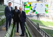 "27 February 2019; Republic of Ireland manager Mick McCarthy, right, with assistant coaches Robbie Keane, left, and Terry Connor in attendance at Aviva Stadium where the Football Association of Ireland (FAI) launched its new 3, 5 & 10-year Premium Level tickets - ""Club Ireland"" - ahead of the Republic of Ireland's EURO 2020 qualifying campaign kicking off next month with Georgia coming to Aviva Stadium on Tuesday, March 26th. Priced at €5,000 for a 10-year ticket and with 5 home international games guaranteed each year, the FAI believe they represent the most keenly priced Premium Level season ticket in Irish sport. The new Ireland management team, Mick McCarthy, Terry Connor & Robbie Keane, were at Aviva Stadium along with FAI CEO John Delaney and former Ireland Internationals and Club Ireland Ambassadors Richard Dunne and Karen Duggan to officially launch the new and improved Club Ireland membership. Membership of Club Ireland is on sale from today (Wednesday, February 27th) and can be purchased VIA: fai.ie/clubireland; by emailing Club Ireland clubireland@fai.ieor by calling 01 899 9547. Photo by Stephen McCarthy/Sportsfile"