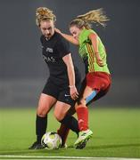 27 February 2019; Brooke Dunne of Maynooth University in action against Chloe Moloney of IT Carlow during the RUSTLERS Third Level CUFL Women's Premier Division Final match between Institute of Technology Carlow and Maynooth University at Athlone Town Stadium in Lissywollen, Westmeath. Photo by Piaras Ó Mídheach/Sportsfile