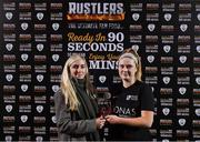 27 February 2019; Lauren Kealy of Maynooth University is presented with the player of the match award by Emma Yourell of RUSTLERS after the RUSTLERS Third Level CUFL Women's Premier Division Final match between Institute of Technology Carlow and Maynooth University at Athlone Town Stadium in Lissywollen, Westmeath. Photo by Piaras Ó Mídheach/Sportsfile