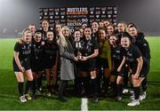 27 February 2019; Maynooth University captain Eimear Lafferty is presented with the cup by Emma Yourell of RUSTLERS after the RUSTLERS Third Level CUFL Women's Premier Division Final match between Institute of Technology Carlow and Maynooth University at Athlone Town Stadium in Lissywollen, Westmeath. Photo by Piaras Ó Mídheach/Sportsfile