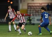 25 February 2019; Patrick McClean of Derry City in action against Bastien Héry of Waterford during the SSE Airtricity League Premier Division match between Derry City and Waterford at the Ryan McBride Brandwell Stadium in Derry. Photo by Oliver McVeigh/Sportsfile