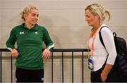 28 February 2019; Molly Scott of Ireland in conversation with her coach and mother Deirdre Scott during the previews of the European Indoor Athletics Championships at the Emirates Arena in Glasgow, Scotland.  Photo by Sam Barnes/Sportsfile