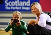 28 February 2019; Molly Scott of Ireland with her coach and mother Deirdre Scott during the previews of the European Indoor Athletics Championships at the Emirates Arena in Glasgow, Scotland.  Photo by Sam Barnes/Sportsfile
