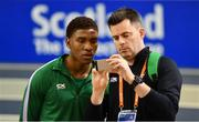 28 February 2019; Joseph Ojewumi of Ireland with Ireland team coach Daniel Kilgallon during the previews of the European Indoor Athletics Championships at the Emirates Arena in Glasgow, Scotland.  Photo by Sam Barnes/Sportsfile