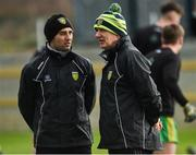 24 February 2019; Donegal manager Declan Bonner, right, along with selector Karl Lacy before the Allianz Football League Division 2 Round 4 match between Donegal and Fermanagh at O'Donnell Park in Letterkenny, Co Donegal. Photo by Oliver McVeigh/Sportsfile