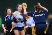 28 February 2019; Action from the Leinster Rugby Girls Metro Tag Rugby Blitz featuring TCS and Loreto Dalkey at Clontarf All-Weather Pitches in Dublin. Photo by Stephen McCarthy/Sportsfile