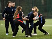 28 February 2019; Action from the Leinster Rugby Girls Metro Tag Rugby Blitz featuring Mary's Baldoyle and Loreto Bray at Clontarf All-Weather Pitches in Dublin. Photo by Stephen McCarthy/Sportsfile
