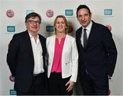 1 March 2019; Tom Liston, UEFA GROW Mentor, left, Mary O'Connor, CEO, Federation of Irish Sport, centre, and Noel Mooney, Head of National Association Development, UEFA, during the UEFA Masterclass in partnership with the Federation of Irish Sport at the Aviva Stadium in Dublin. Photo by Seb Daly/Sportsfile