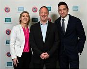 1 March 2019; Mary O'Connor, CEO, Federation of Irish Sport, left, Mark Ward, UEFA GROW Mentor, and Noel Mooney, Head of National Association Development, UEFA, during the UEFA Masterclass in partnership with the Federation of Irish Sport at the Aviva Stadium in Dublin. Photo by Seb Daly/Sportsfile